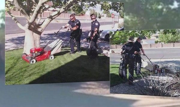 Cops Mow elderly woman's yard_46783