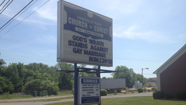 gay marriage church sign_49011
