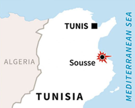 Tunis, Tunisia map - beach attack_62665