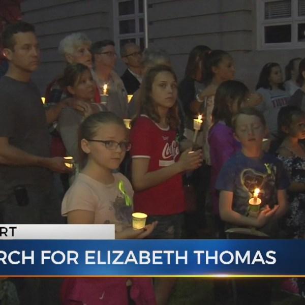 Candlelight vigil held for Elizabeth Thomas