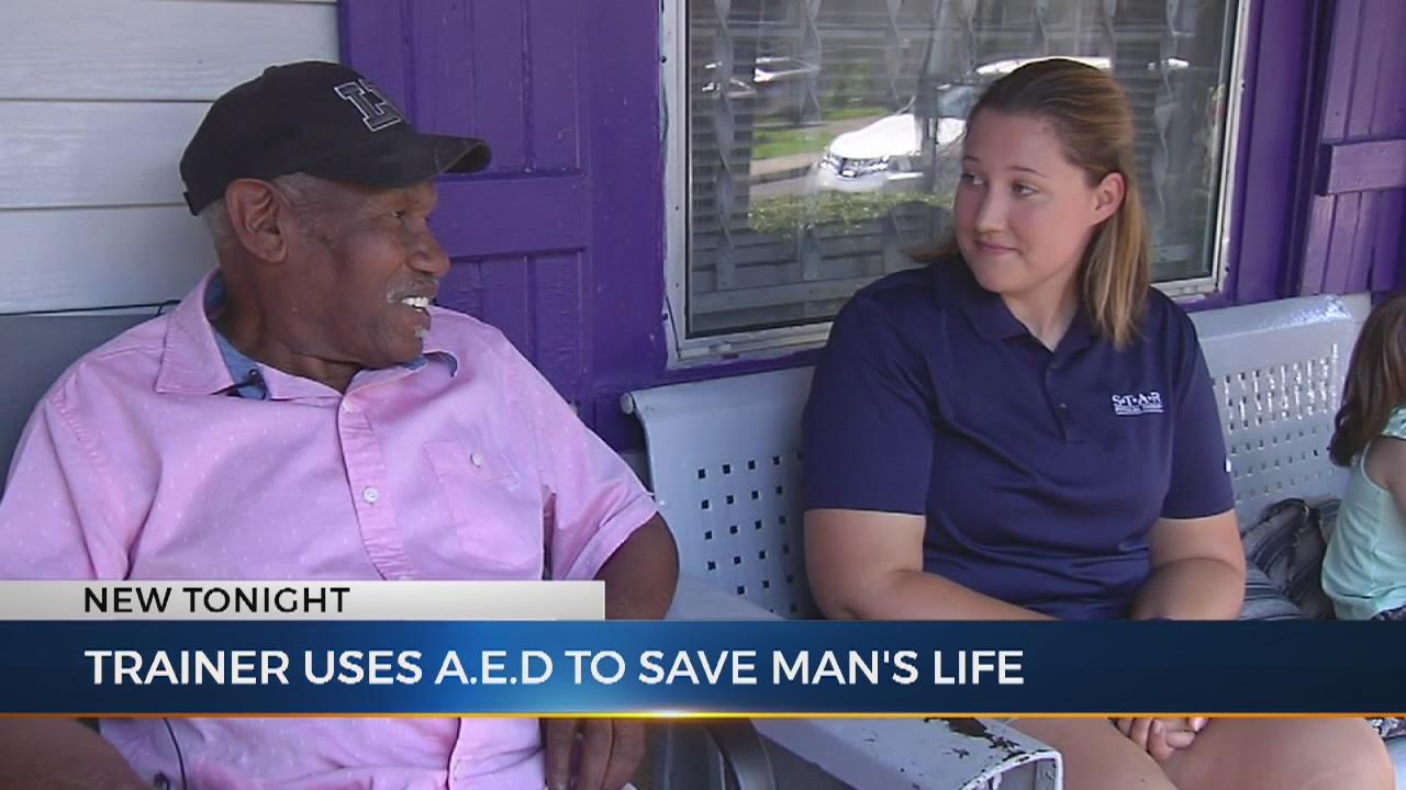 Athletic trainer, defibrillator saves man at baseball game