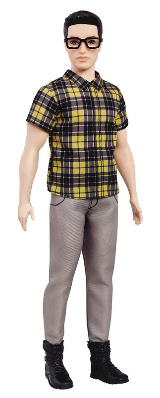 This photo provided by Mattel shows a broad body-style Ken doll, wearing eyeglasses. Mattel announced Tuesday, June 20, 2017, that the company is introducing 15 new looks for the male doll, giving him new skin tones, body shapes and hair styles....