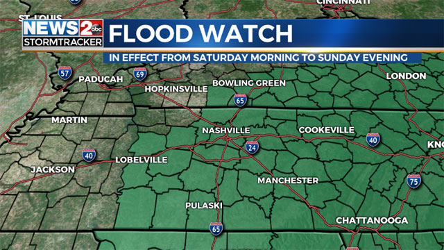 Weekend Washout: Flooding possible in Middle Tennessee