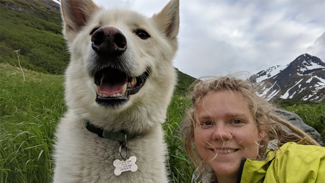 Amelia Milling Alaska dog