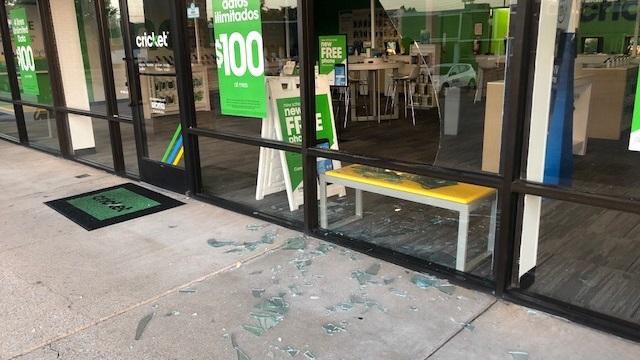 Broken glass at burglary scene