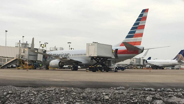 American Airlines plane held at airport