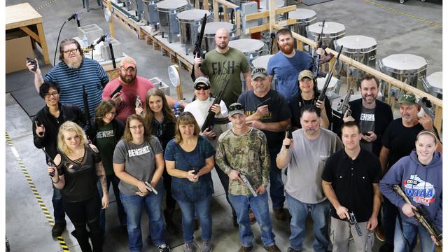 company gives guns for Christmas