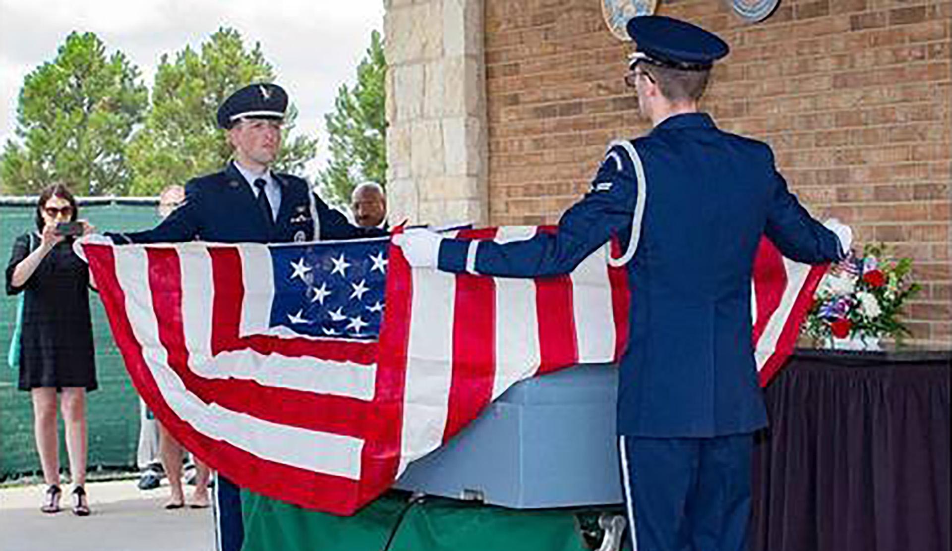 Veteran's casket at funeral service.jpg