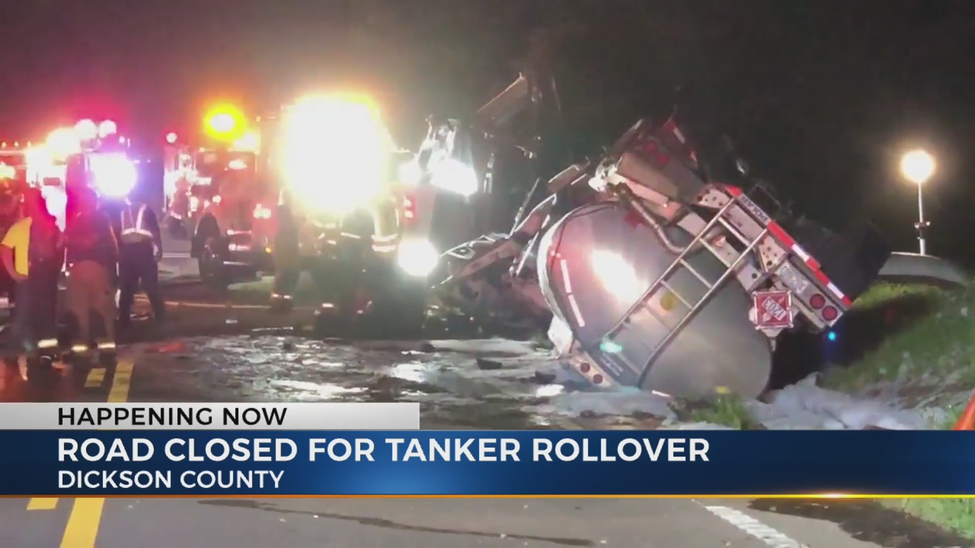 Tanker crash closes portion of Highway 70 in Dickson County
