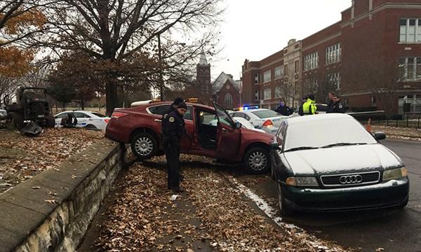 Stolen car crash Woodland Street