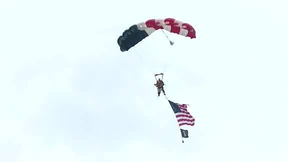 97-year-old vet with the 101st parachutes again over Normandy