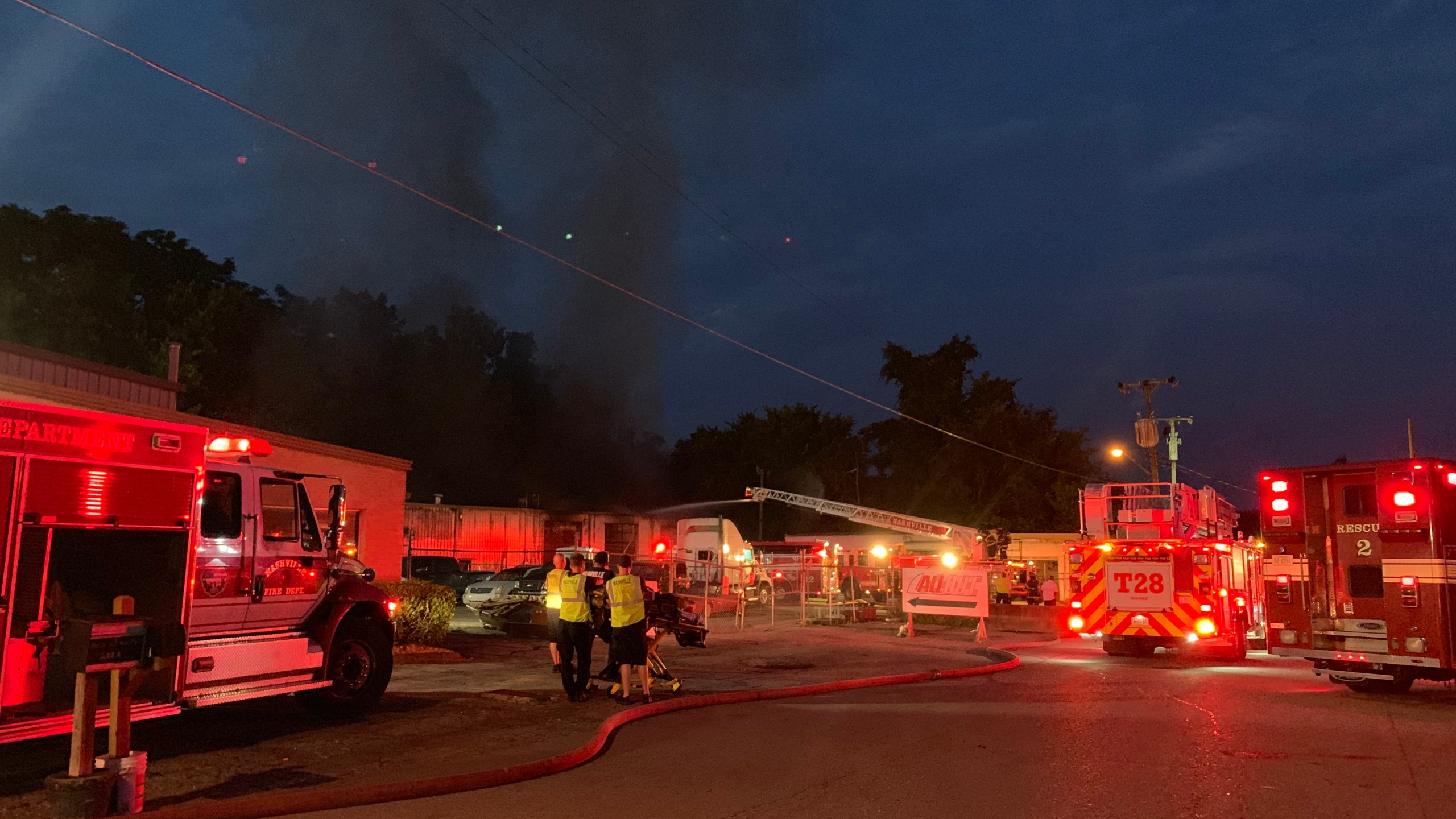 Crews fighting HAZMAT fire at South Nashville business