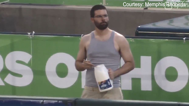 Man caught on camera eating mayo from jar