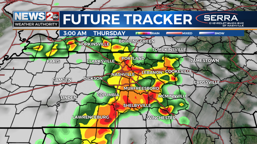 Intense storms possible overnight across Middle Tennessee