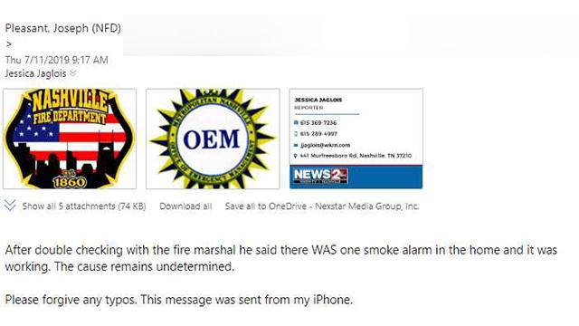 Joseph Pleasant Edgehill fire email 1