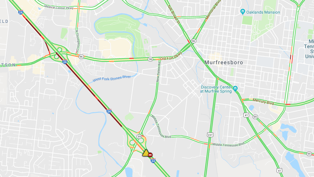 I-24 East in Murfreesboro closed due to crash, alternate