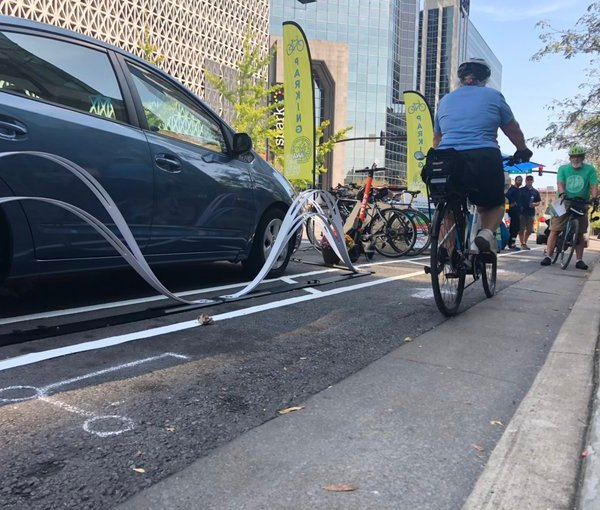 Protected bike lane pop-up