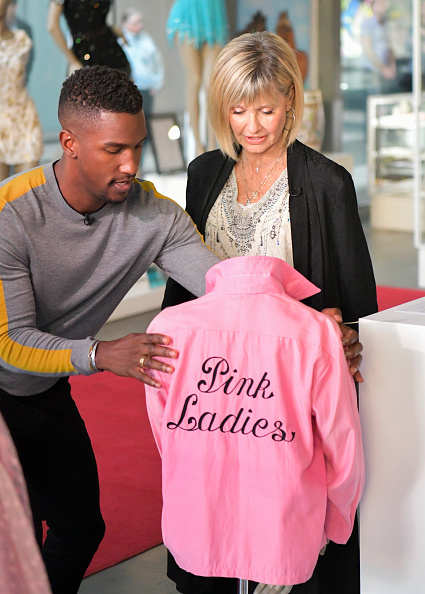Olivia Newon John with Pink ladies jacket