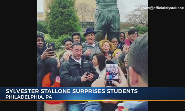Sly Stallone surprises students