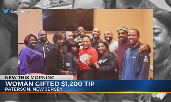 Group leaves NJ waitress $1200 tip as holiday gift
