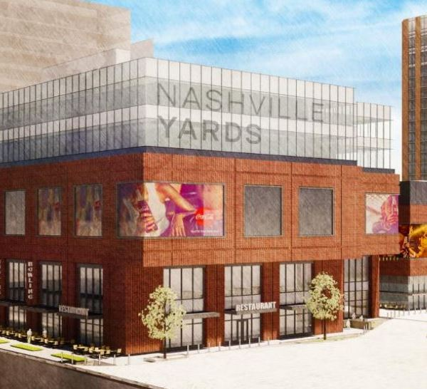 Renderings of potential signage for Nashville Yards