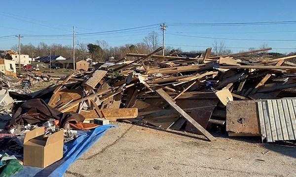 tornado storm debris piles