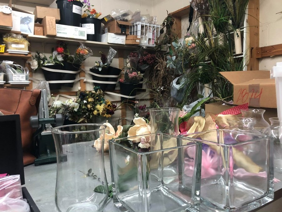 Empty vases at Basket of Flowers