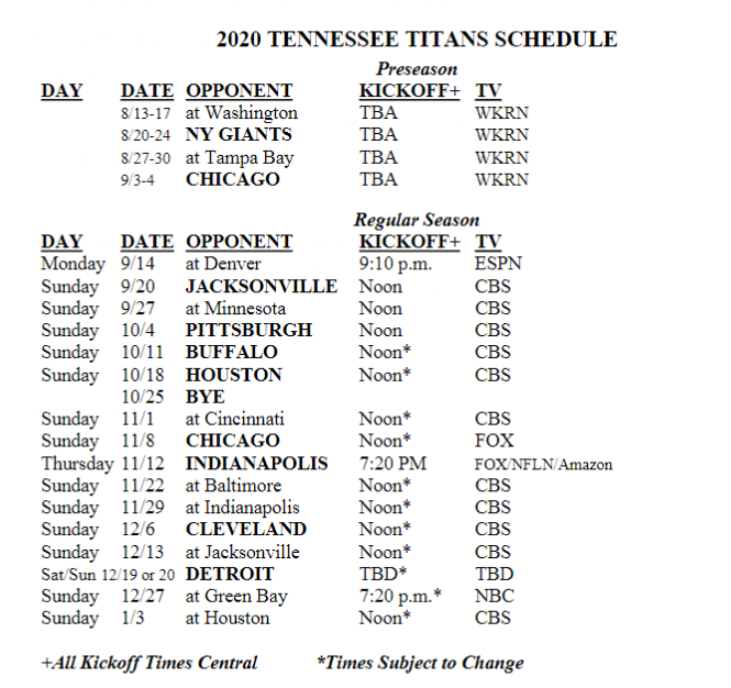 Tennessee Titans Release 2020 Schedule Preseason Games To Air On Wkrn Tv Wkrn News 2