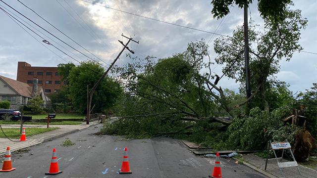 Storm damage on West Linden Avenue off 21st Avenue South