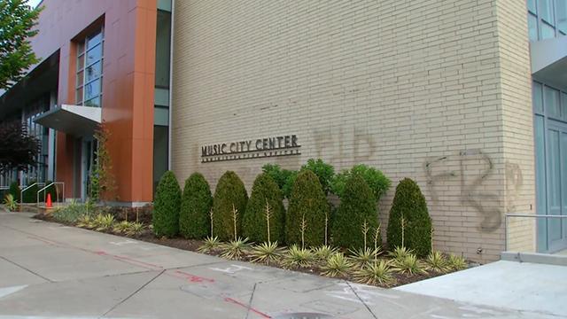 Graffiti damage to Music City Center