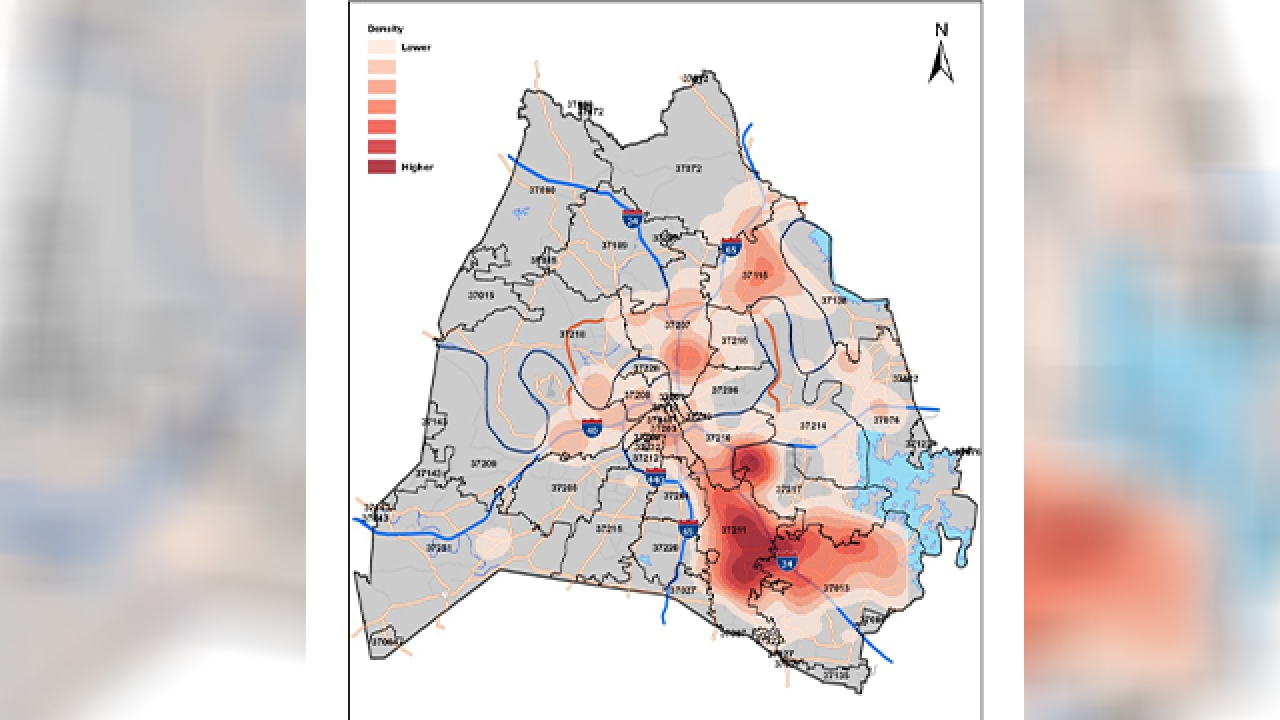 'Heatmaps' show concentration of active, cumulative cases COVID-19 in Nashville