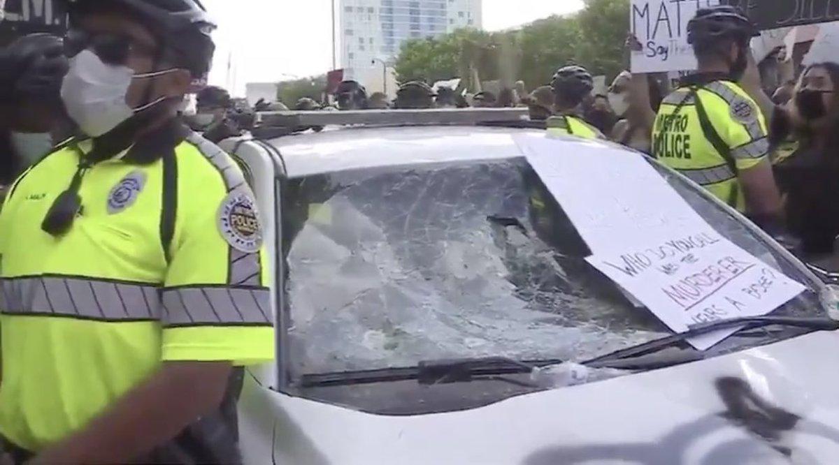 Nashville riot Metro police cruiser