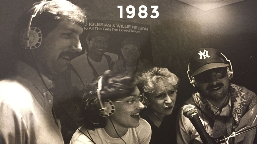 """1983: Bob, Nancy Mueller, Jessica Etz and John Seigenthaler Jr. recording """"Stand by Your Man"""" and """"One Day at a Time"""" in Gatlinburg"""
