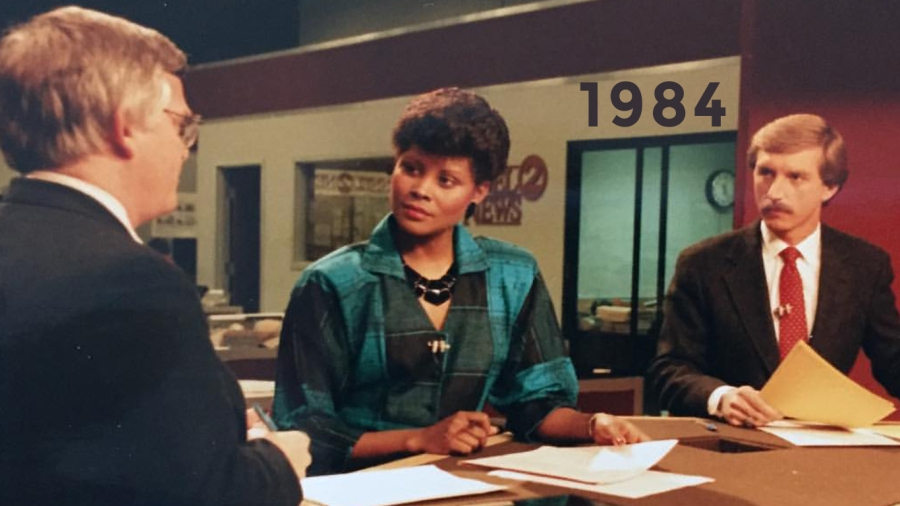 1984: First year anchoring with Anne Holt, reporter Jim Gilchrist on set