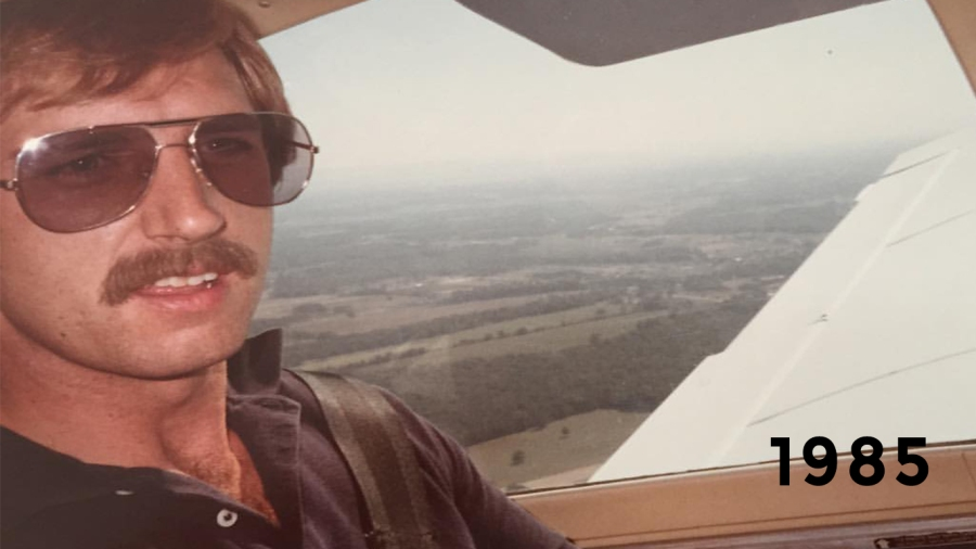 1985: Logging some hours in a Piper Warrior during a cross-country trip over Tennessee and Kentucky