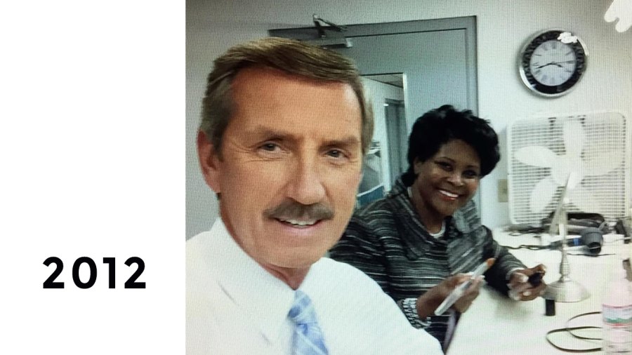 """2012: Bob and Anne getting """"show ready"""" in the makeup room"""