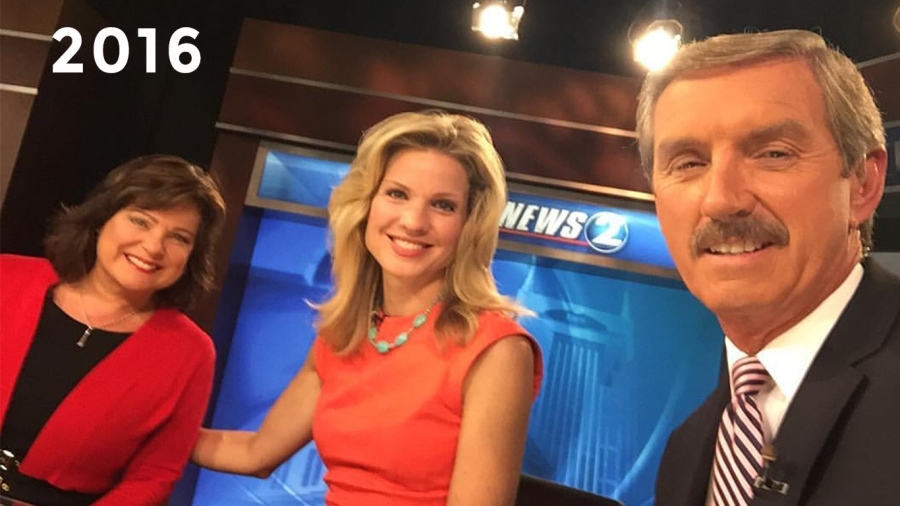 2016: Lisa Patton, Samantha Fisher and Bob gearing up for the nightly newscast