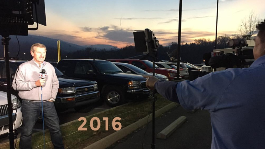2016: Bob and photojournalist Boyd Sadler bringing live reports from the devastating Gatlinburg Wildfires