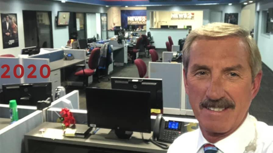 2020: Bob 2020: Bob shows off an empty newsroom as the station introduces social-distancing guidelines amid the COVID-19 Pandemicshows off an empty newsroom as the COVID-19 pandemic sends co-workers home - someone has to man the phones
