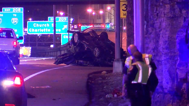 I-40 juvenile crash in stolen car at Broadway