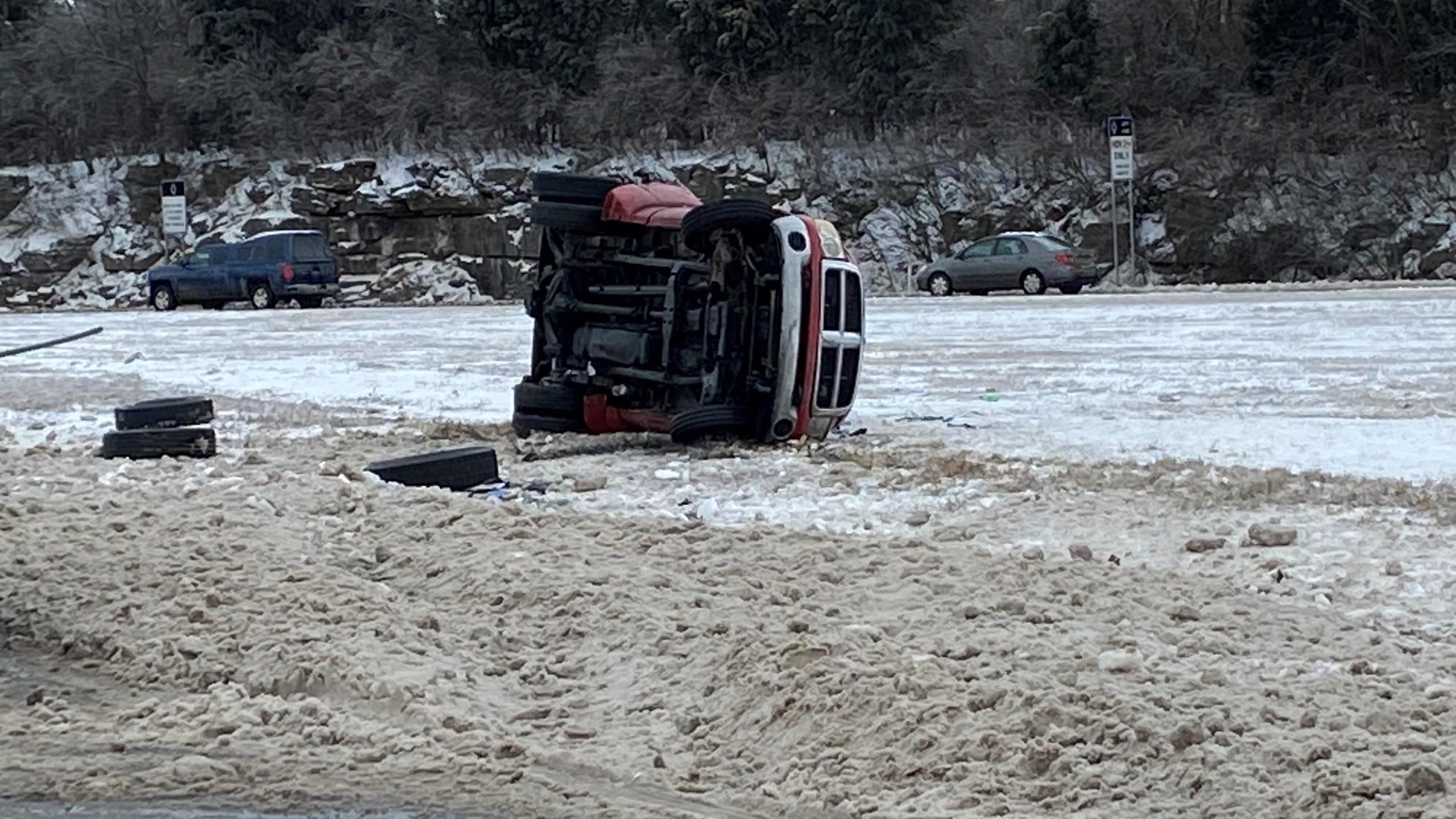 I-24 Rollover Crash near Haywood Ln on 2-16-2021