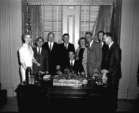 COURTESY-TSLA-Elvis-Presley-and-Gov.-Buford-Ellingtons-staff-Tennessee-State-Capitol-Nashville-Tennessee.-The-governors-daughter-Ann-later-Ann-Ellington-Wagner-is-at-left