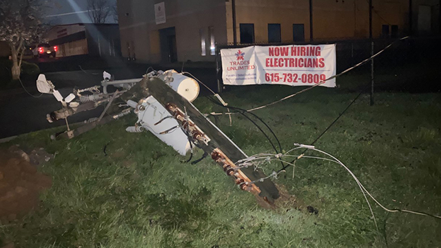 broken utility pole Nashville