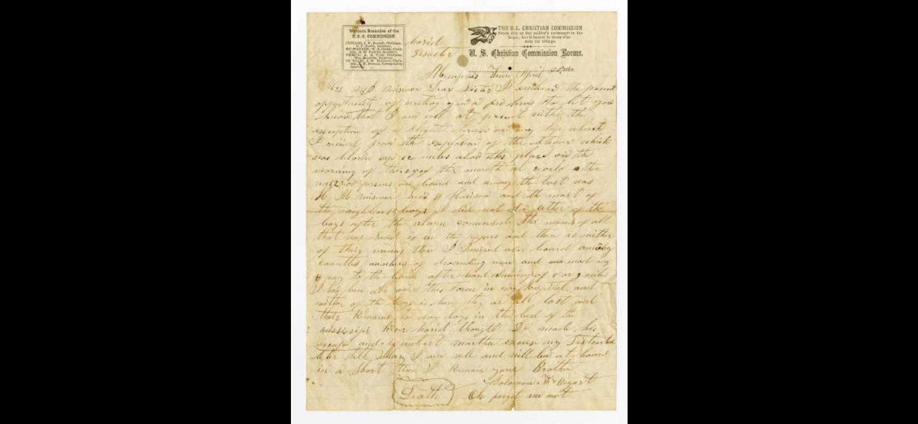 Sultana Disaster Letter