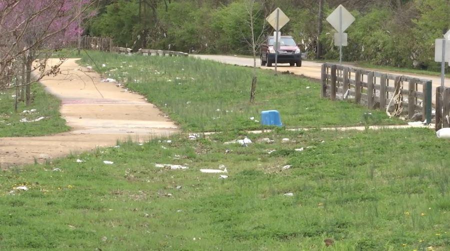 Whitsett Park flood trash