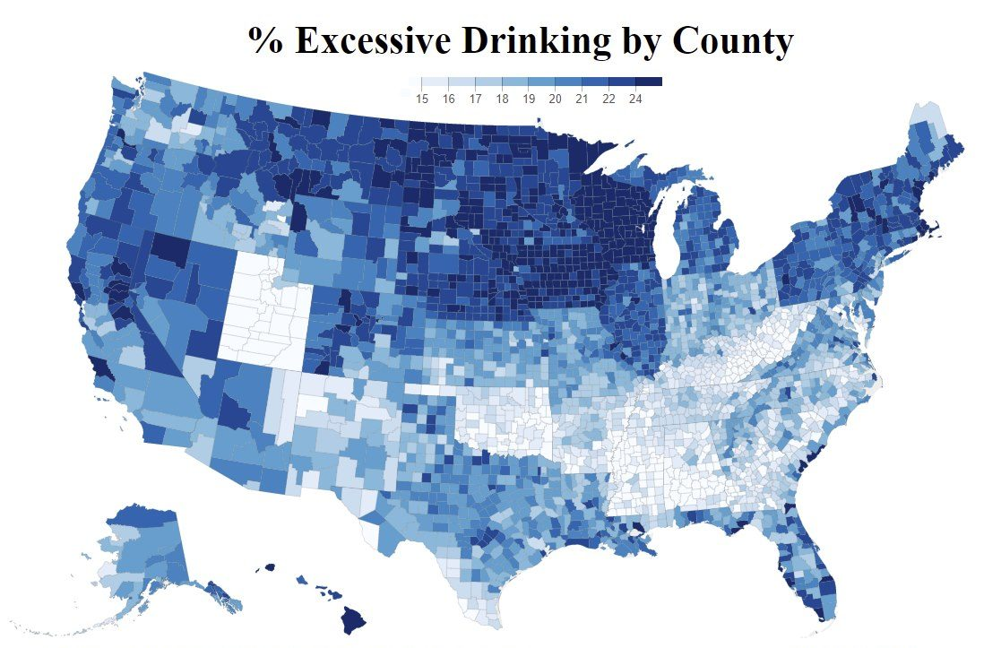 Map shows which counties are home to the highest number of excessive drinkers in the United States