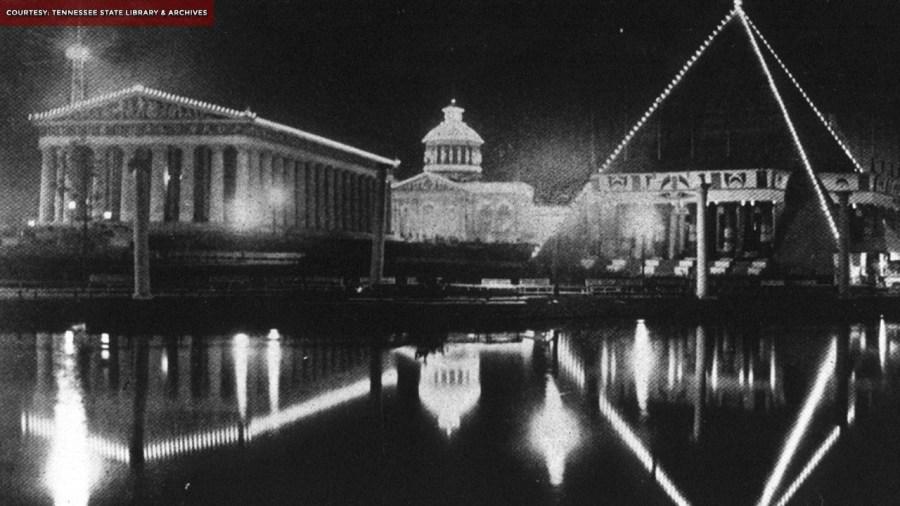 Nashville Parthenon at night