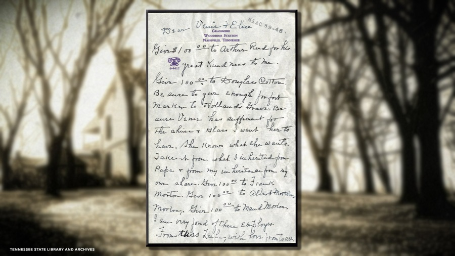 Leila Shute Tigert letter of dying wishes