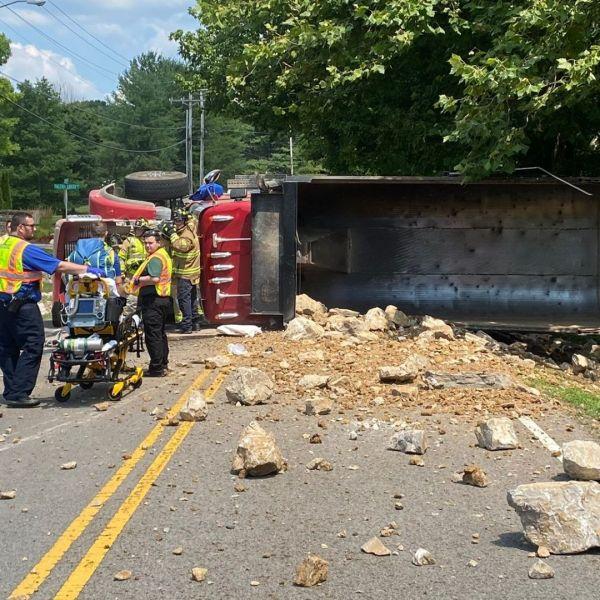 franklin overturned dump truck