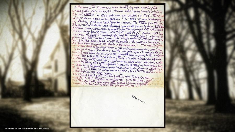 Handwritten history of Grassmere property